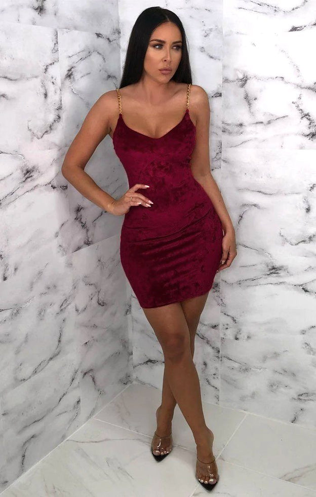 Wine Velvet Bodycon Chain Strap Mini Dress - Molly