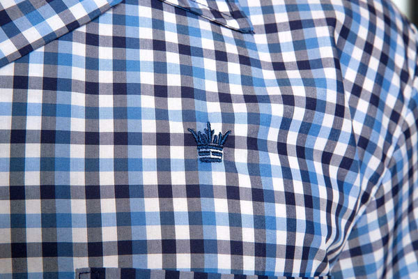 Mr. California - Men's Short Sleeve Plaid Shirt - The Modesto - Embroidery Detail