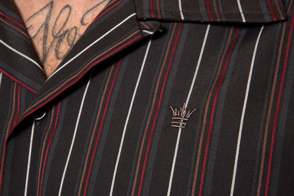 Mr. California - Men's Short Sleeve Button-Up Shirt - The Pomona - Embroidery Detail