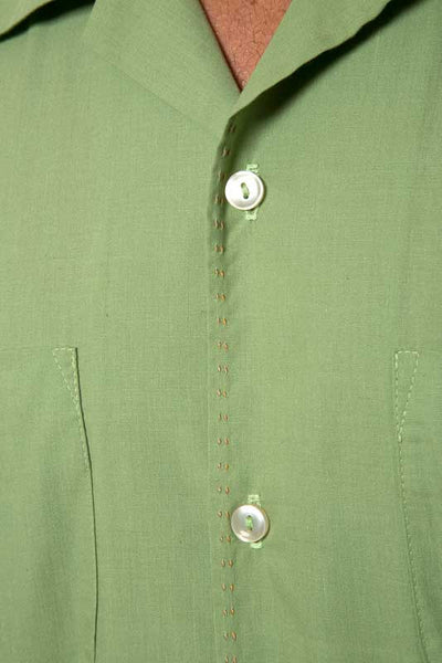 Mr. California - Men's Short Sleeve Button-up Shirt - The San Bernardino - Saddle Stitch Detail