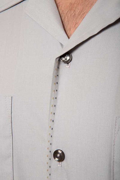 Mr. California - Men's Short Sleeve Button-up Shirt - The San Bernardino - Saddle Stitch and Button Detail