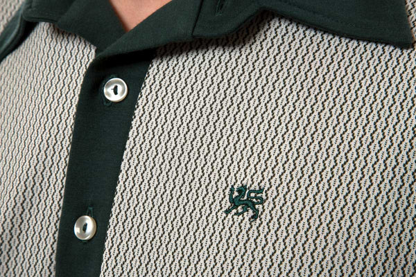 Mr. California - Men's Short Sleeve Contrast Panel Knit Shirt - The Pasadena - Embroidery and Fabric Detail