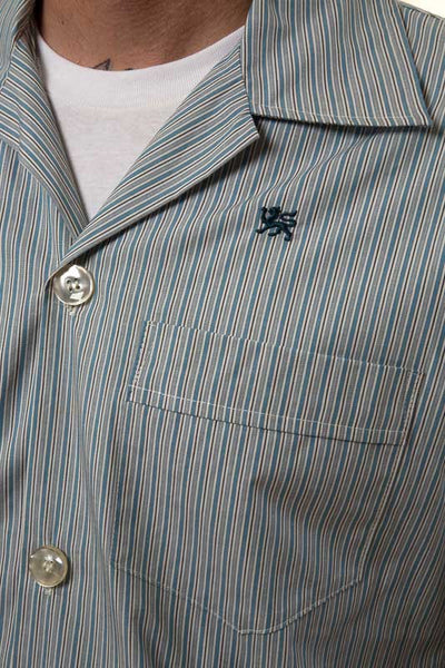 Mr. California - Men's Pajamas - The La Jolla - Pajama Top Button, Embroidery and Pocket Detail