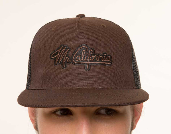 Mr. California - Men's Trucker Hat - The Billed Duck - Front View Detail