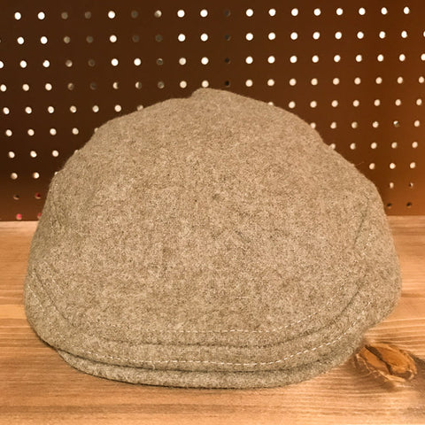 Front view of Rye Colored Wool Flat Cap