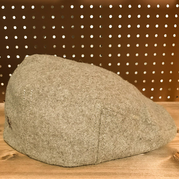 Side view of Rye Colored Wool Flat Cap