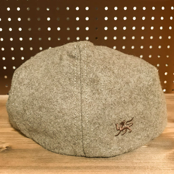 Back view of Rye Colored Wool Flat Cap