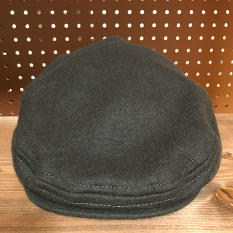 Front view of Greyhound Colored Wool Flat Cap