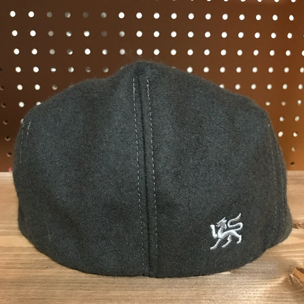 Back view of Greyhound Colored Wool Flat Cap