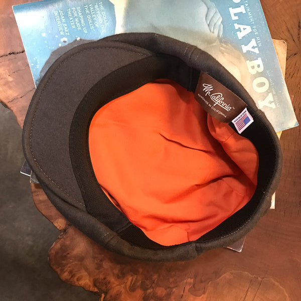 Inside view of Greyhound Colored Wool Flat Cap
