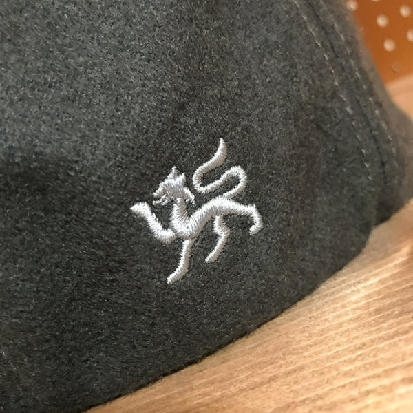 Detail of embroidery on Greyhound Colored Wool Flat Cap
