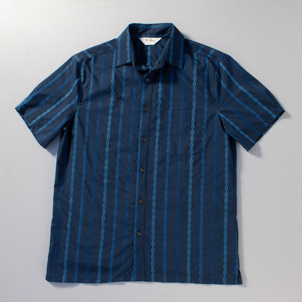Full laydown shot of The Santa Cruz, a short sleeve shirt in Mr. California's Heritage Collection.