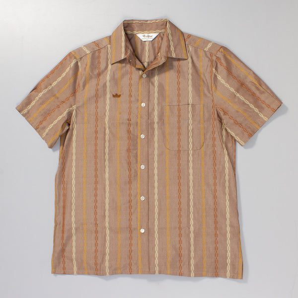 Laydown shot of Mr. California's shirt, The Encinitas. It's a brown shirt with varied color stripes and give a tiki bar vibe.