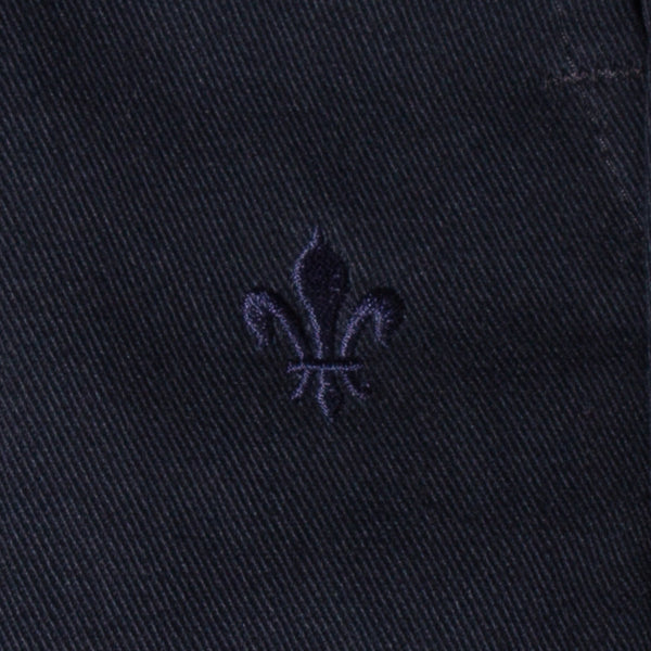 Men's black chino pants — Front — Embroidery Detail