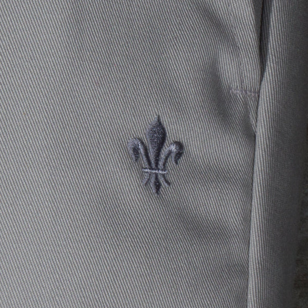 Men's light grey chino pants — Front — Embroidery Detail