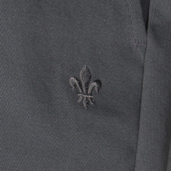 Men's dark grey chino pants — Front — Embroidery Detail