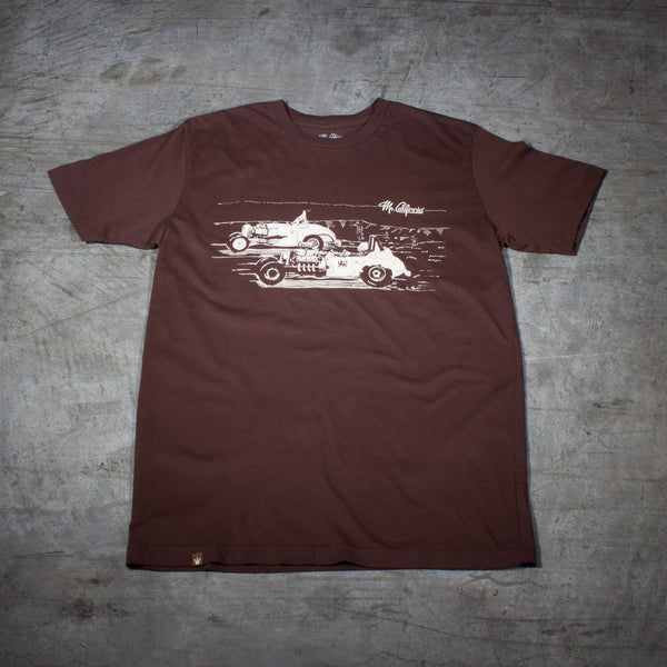 Rat Rod Vintage Dragsters T-Shirt in Brown - Front View