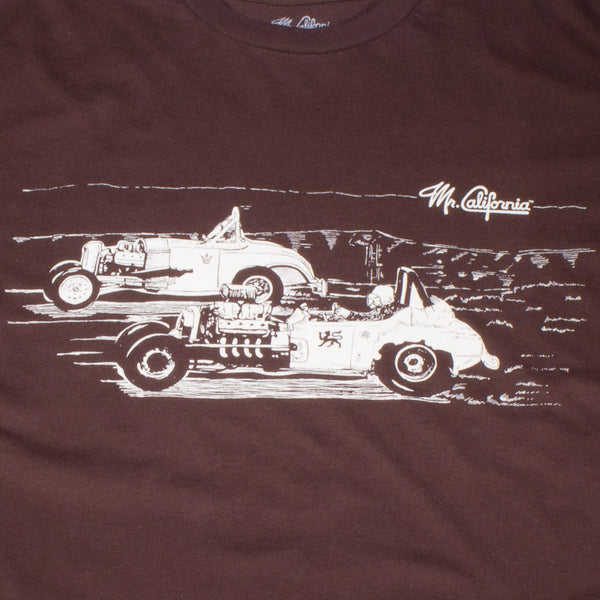 Rat Rod Vintage Dragsters T-Shirt in Brown - Print Detail