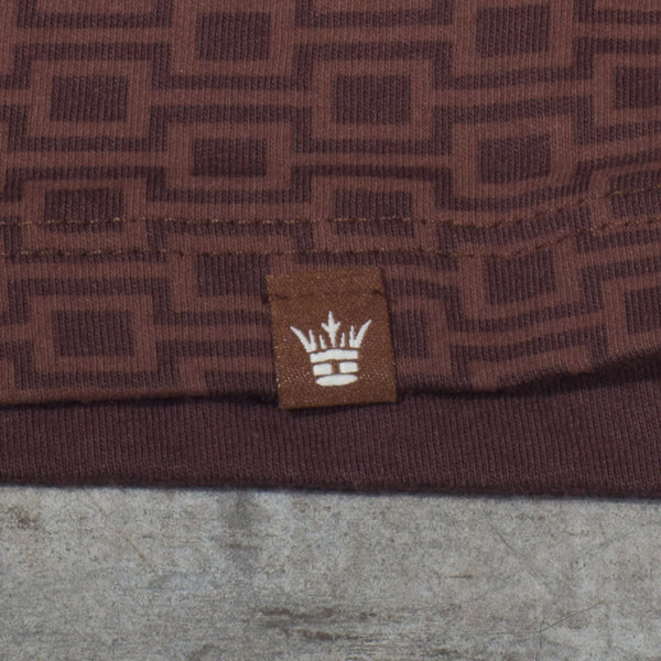 Modernism Block Repeat T-shirt in Brown - Label Detail