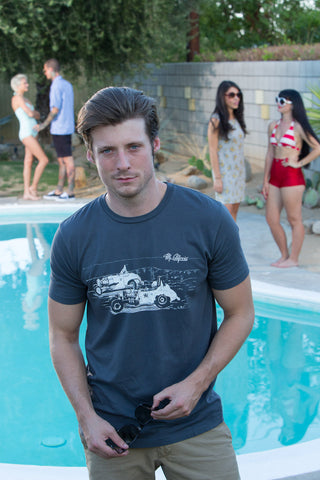 Mr. California Vintage Dragster T-shirt in grey - Midcentury Modern Lifestyle scene around swimming pool.