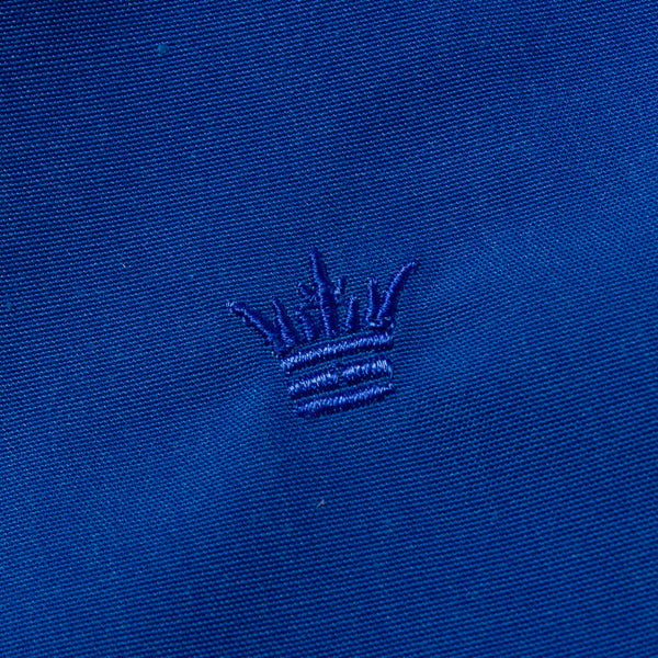 The Laguna Jacket in Canary Blue - Crown Embroidery Detail