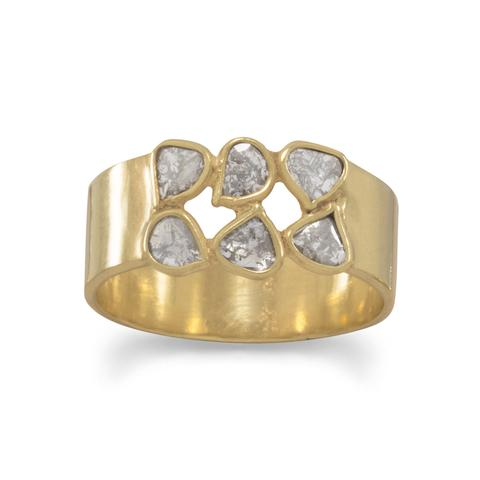 14 Karat Gold Plated Polki Diamond Ring