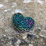 Rainbow Brain Heart Enamel Pin