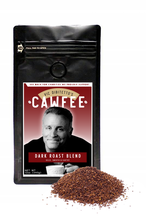Vic DiBitetto's CAWFEE | Dark, Medium, Pumpkin Spice and Hazelnut Coffee, 12 oz Bag