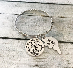 Pet loss- Hand stamped bracelet - Pet memorial