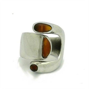 Tiger Eye and Alpaca Silver Wrap Ring Handmade and Fair Trade