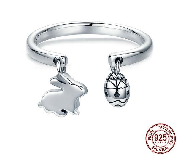 Women's 100% 925 Sterling Silver Adjustable Bunny Ring