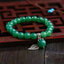 Women's Natural Green Chalcedony Crystal Bracelet Round 8mm Beads w/Lucky Tibetan Silver Leaf