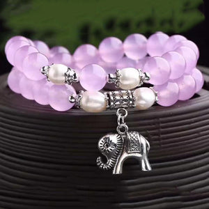 Women & Girls Crystal Bracelet Round 8mm Beads w/ Elephant Charm