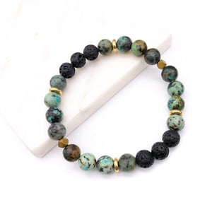 Essential Oils Diffuser Yoga Lava & Natural Stone Bead Bracelet