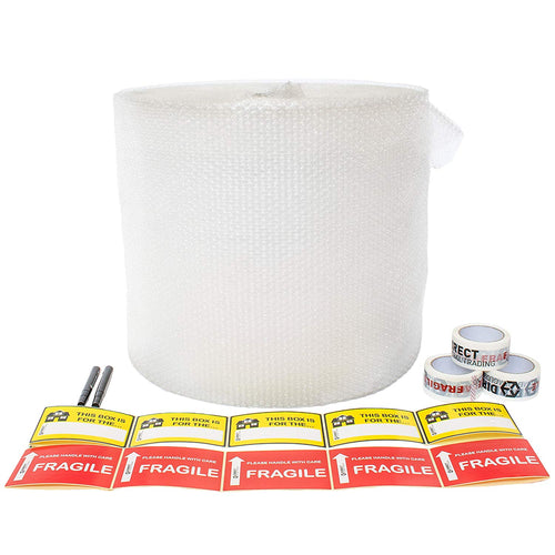 House Moving Kit with Large Roll Bubble Wrap Marker Pens Fragile Tape Fragile Stickers and Blank Room Stickers