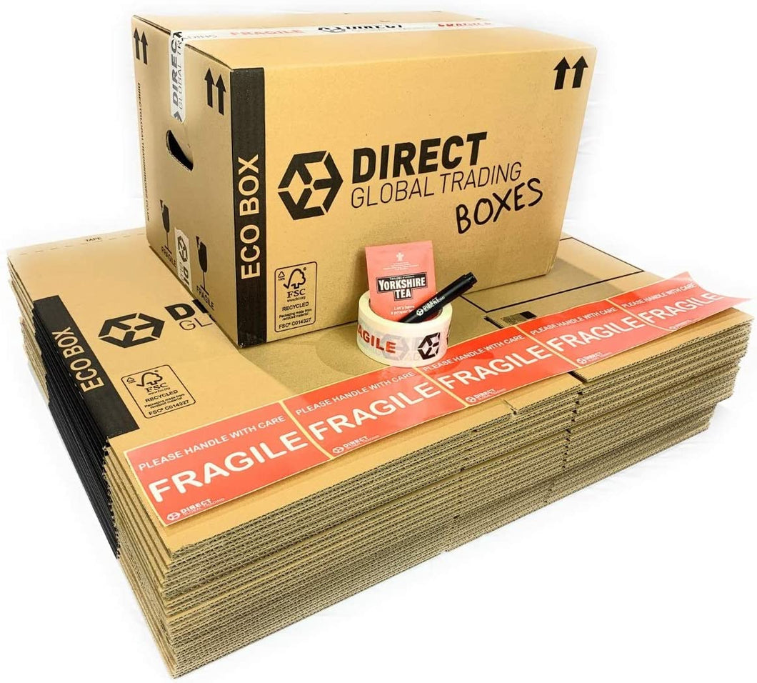 Pack of 20 Eco Friendly FSC Certified Cardboard Moving House Boxes