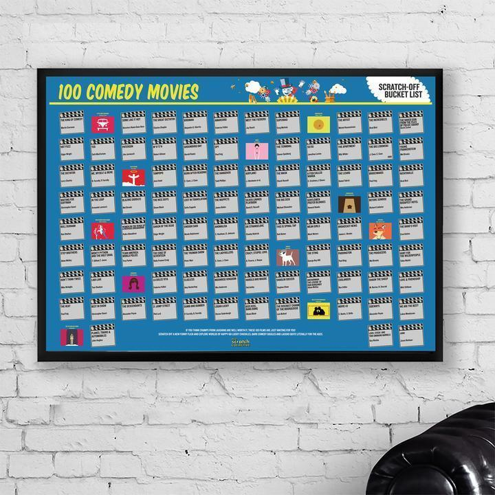 Bo 100 Comedy Movies Scratch-Off Poster