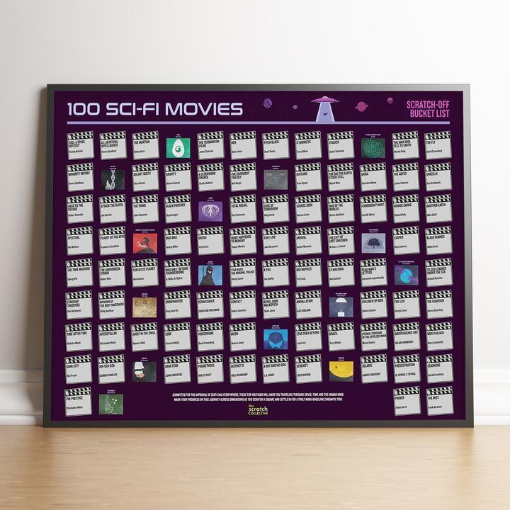 Bo No Frame 100 SCI-FI MOVIES SCRATCH-OFF POSTER