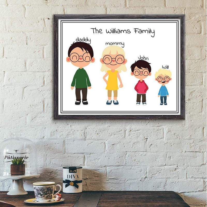 TRENDINESS S / White / Unframed Personalized Family Print With Pre-made Figures