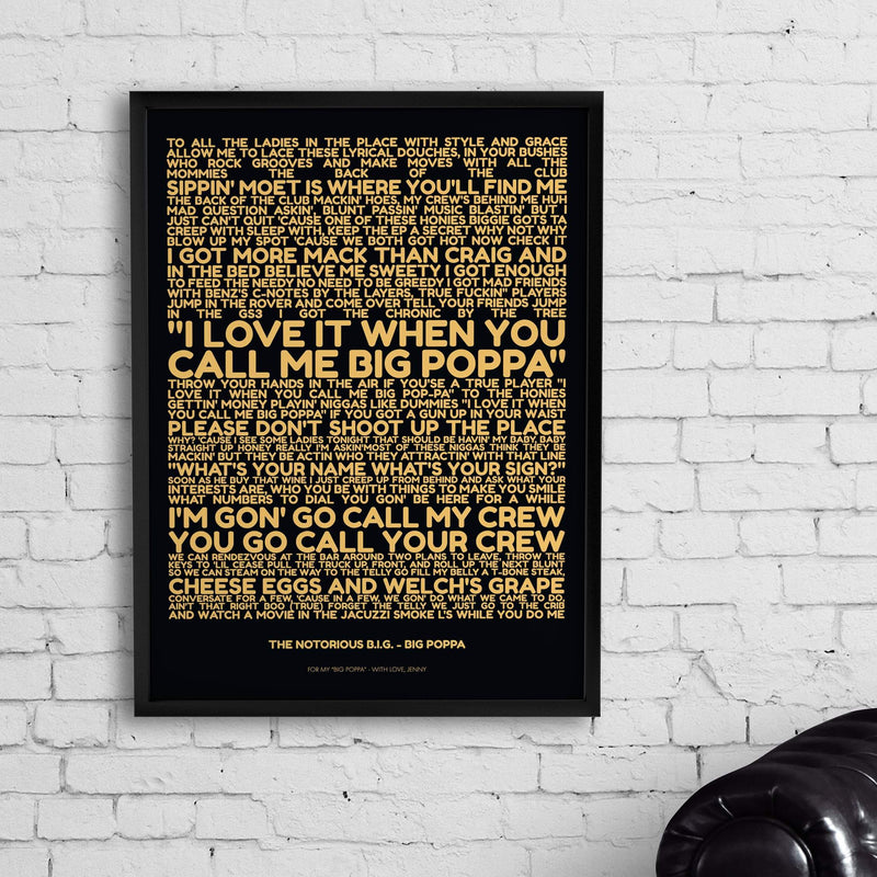 Bo Black / Unframed Personalized Favorite Lyrics Poster