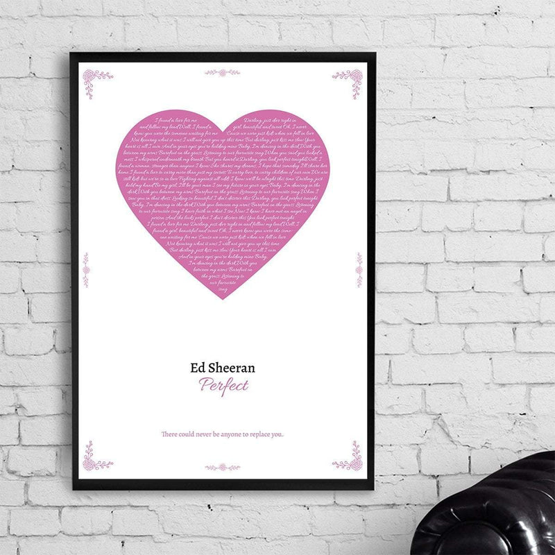 Bo Pink / Without Frame Personalized Heart Lyrics Poster