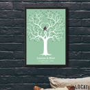 TRENDINESS S / Summer Green / Unframed Personalized Love Birds Anniversary Print