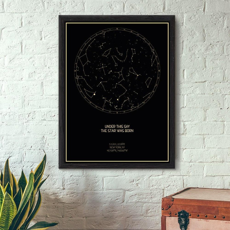 TRENDINESS Black / CLASSIC / UNFRAMED Personalized Night Sky Poster