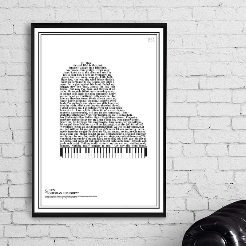 Bo Without Frame / Black Personalized Piano Lyrics Poster