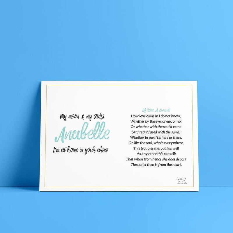 Bo Turquoise Personalized Poem Poster