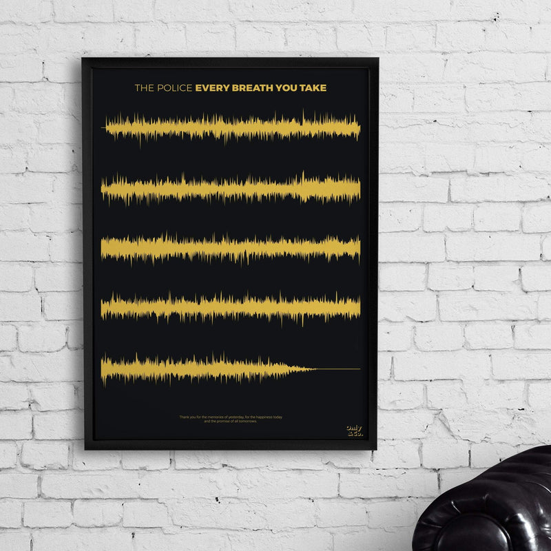 Bo Without Frame / Black/White Personalized Soundwave Poster