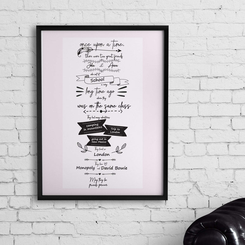 Bo Unframed Personalized 'Story Of Our Friendship' Poster