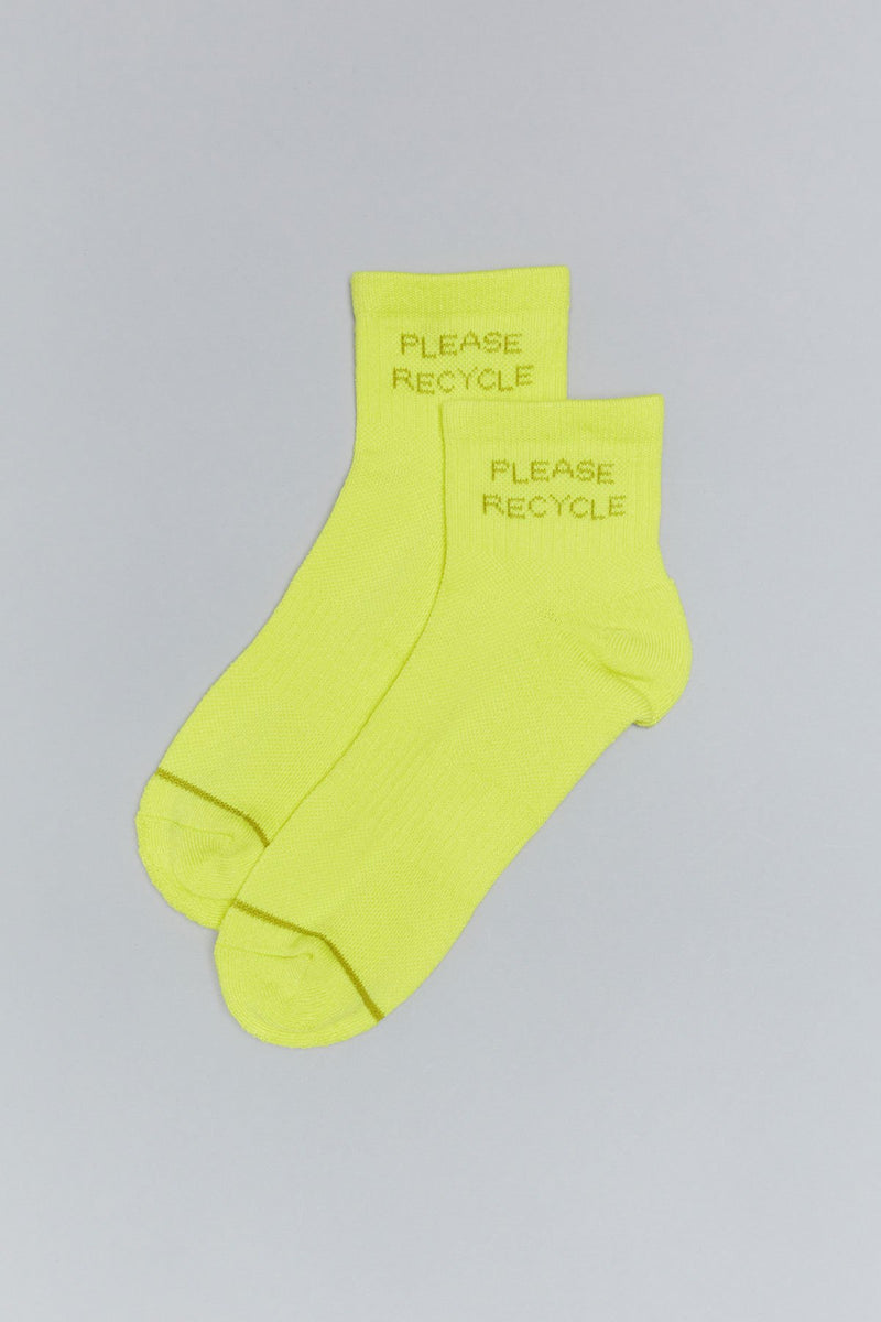 Neon Please Recycle Quarter Crew Sock