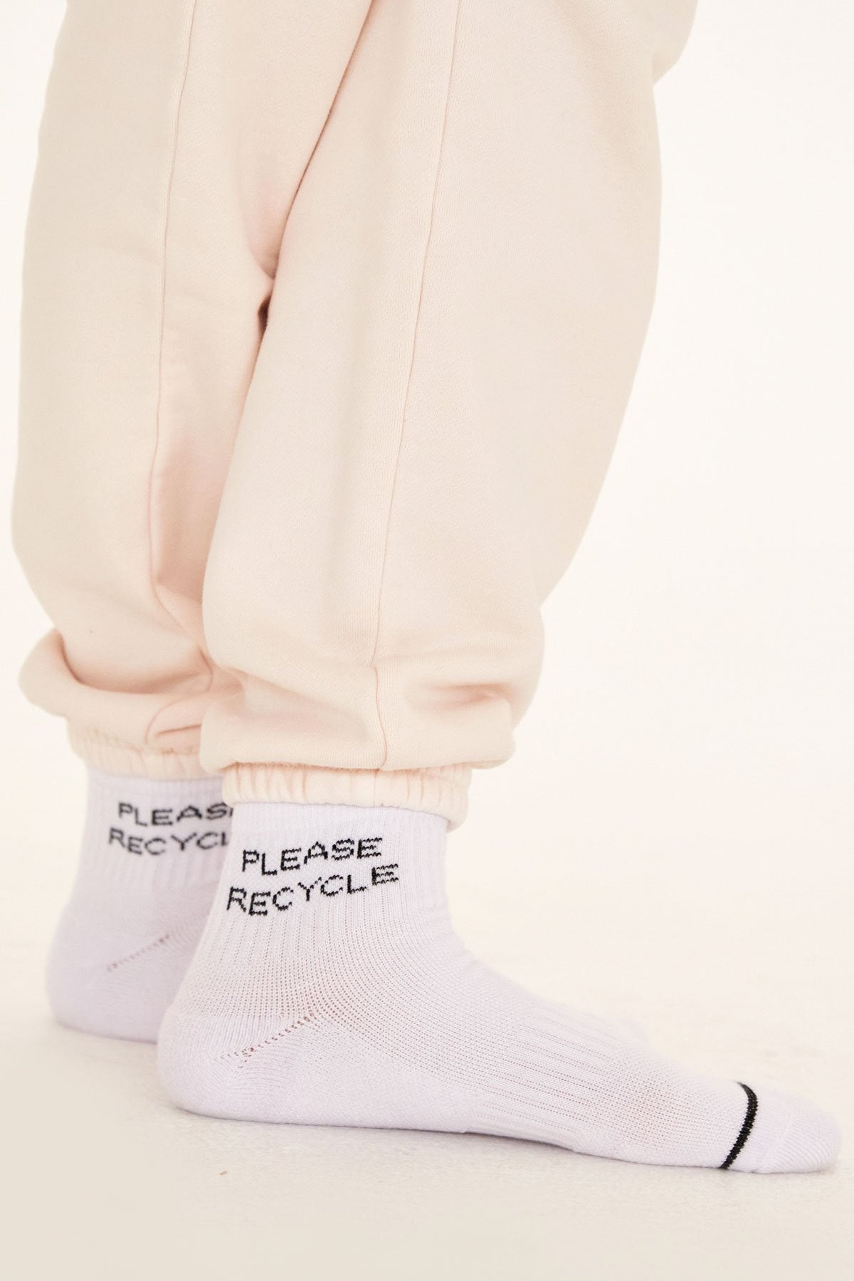 White Please Recycle Quarter Crew Sock