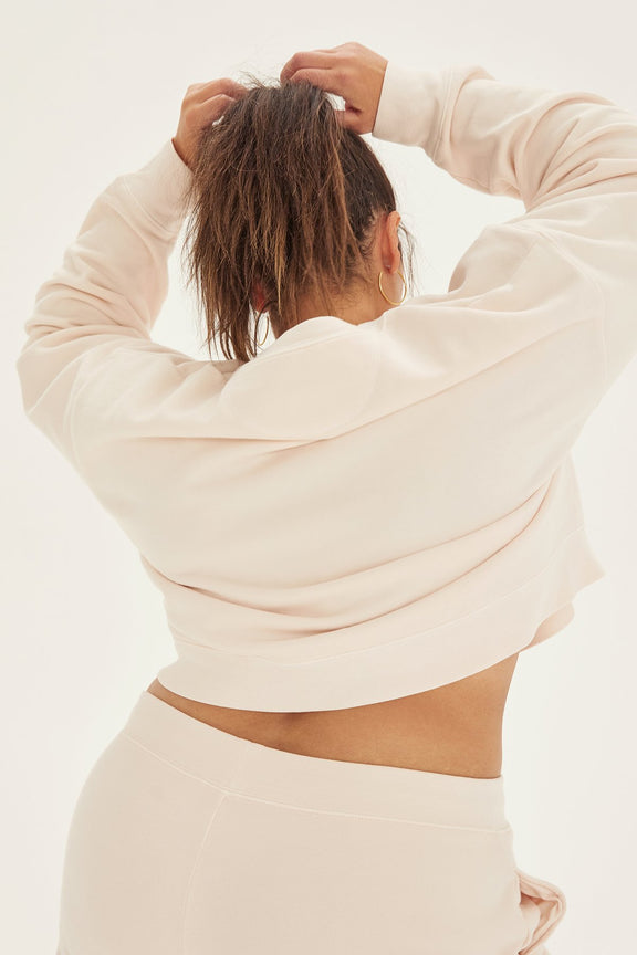 Ecru Cropped Sweatshirt